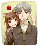 apple apples brown_hair craft_lawrence fangs food fruit grey_hair holo long_hair red_eyes silver_hair spice_and_wolf takagi_hideaki wolf_ears