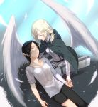 2girls 3u_orz angel_wings black_hair blonde_hair cape christa_renz dirty feathers hand_on_head lying multiple_girls ponytail shingeki_no_kyojin sleeves_rolled_up tears torn_clothes wings ymir_(shingeki_no_kyojin)