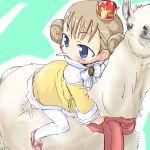 child crown kojima_tsuma llama lowres mari marie marie_(baby_princess) pantyhose riding white_legwear