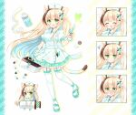 1girl :d ^^^ ^_^ animal_ears bandaged_tail bangs blonde_hair blue_hair blush bottle braid breasts brown_hair cat_ears cat_girl cat_tail closed_eyes closed_mouth collared_shirt commentary_request expressions eyebrows_visible_through_hair first_aid_kit frilled_legwear garter_straps green_eyes green_footwear green_skirt hair_ornament hairclip hat highres holding holding_syringe long_hair medium_breasts multicolored_hair multiple_views nose_blush nurse nurse_cap open_mouth original pill pill_hair_ornament shikito shirt shoes skirt smile squiggle standing standing_on_one_leg streaked_hair striped syringe tail thigh-highs twin_braids two-tone_hair vertical-striped_skirt vertical_stripes very_long_hair white_headwear white_legwear white_shirt x_hair_ornament