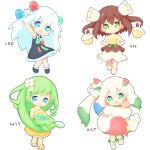 4girls :d :o absurdly_long_hair aikei_ake arm_up bangs black_dress black_footwear blue_eyes blue_hair blue_ribbon blush boots brown_hair brown_shirt capelet closed_mouth commentary_request dress eyebrows_visible_through_hair flower green_eyes green_hair hair_between_eyes hair_flower hair_ornament hair_ribbon head_tilt highres holding long_hair long_sleeves looking_at_viewer multicolored_hair multiple_girls open_mouth original paint_tube parted_lips personification prehensile_hair redhead ribbon sandals shirt shoes simple_background skirt sleeveless sleeveless_dress smile translation_request two-tone_hair two_side_up very_long_hair water watering_can white_background white_capelet white_dress white_flower white_footwear white_hair white_shirt white_skirt yellow_dress yellow_footwear
