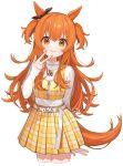 1girl animal_ears belt brown_ribbon casual chiri_(ch!) ear_ribbon horse_ears horse_girl horse_tail jewelry long_hair long_sleeves looking_at_viewer mayano_top_gun_(umamusume) miniskirt nail_polish necklace orange_eyes orange_hair orange_nails plaid plaid_skirt pleated_skirt ribbon skirt sleeves_past_wrists smile solo tail turtleneck two_side_up umamusume white_background white_belt yellow_skirt