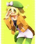 1girl :d adjusting_eyewear bag bianca_(pokemon) blush bow commentary_request dress eyelashes glasses green_bag green_headwear green_pants hand_up hat hat_bow heart jacket leaning_forward long_sleeves open_clothes open_jacket open_mouth orange_jacket pants pokemon pokemon_(game) pokemon_bw2 semi-rimless_eyewear shooting-star short_dress shoulder_bag smile solo tongue upper_teeth white_bow yellow_eyes