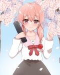 .live 000_(jicasoe) 1girl absurdres blurry blurry_background blush cherry_blossoms collarbone commentary_request flower highres kitakami_futaba looking_at_viewer low_twintails medium_hair petals pink_eyes school_uniform sky smile thumbs_up twintails virtual_youtuber