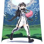 1girl :3 absurdres african_penguin_(kemono_friends) bag black_footwear black_hair black_hoodie black_legwear blush boots brown_eyes commentary_request eyebrows_visible_through_hair full_body handbag headphones highlights highres hood hoodie iwa_(iwafish) kemono_friends long_hair long_sleeves mittens multicolored_hair outstretched_arms penguin_girl penguin_tail pink_hair sandstar solo tail thigh-highs two-tone_hoodie two-tone_legwear white_hair white_hoodie white_legwear zettai_ryouiki
