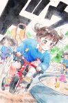 black_hair blush brown_eyes brown_hair child clenched_teeth closed_eyes commentary food_themed_hair_ornament frown gomennasai hair_ornament hairclip kindergarten_uniform long_sleeves name_tag original racing riding sandbox serious short_hair slide strawberry_hair_ornament teeth tricycle two_side_up