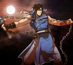 1boy absurdres bangs black_gloves blue_eyes castlevania closed_mouth clouds cowboy_shot cross fingerless_gloves full_moon gloves hairband highres holding holding_weapon ishmi looking_at_viewer male_focus moon muscular night outdoors outstretched_arms pants richter_belmont short_hair smile solo standing torn_clothes torn_sleeves v-shaped_eyebrows weapon whip white_hairband white_pants