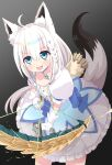 1girl animal_ear_fluff animal_ears arrow_(projectile) bangs black_background blush bow bow_(weapon) braid commentary_request dress earrings eyebrows_visible_through_hair fang fox_ears fox_girl fox_tail gloves gradient gradient_background green_eyes hair_between_eyes highres holding holding_bow_(weapon) holding_weapon hololive jewelry komaki_ria long_hair looking_at_viewer open_mouth pendant pentagram puffy_sleeves shirakami_fubuki short_sleeves sidelocks single_braid smile solo tail virtual_youtuber weapon white_dress white_gloves white_hair