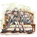 4girls aardwolf_(kemono_friends) aardwolf_ears aardwolf_print aardwolf_tail animal_ears animal_print bangs bare_shoulders bench black_hair bodystocking brown_hair cat_ears cat_girl cat_tail closed_eyes collared_shirt commentary_request day dress elbow_gloves facing_another fangs fingerless_gloves footwear_removed fox_ears friends full_body fur-trimmed_sleeves fur_collar fur_trim gloves green_eyes grey_hair grey_shirt grey_shorts hair_between_eyes half-closed_eyes hands_up height_difference high_ponytail holding kemono_friends kneeling knees_together_feet_apart leaning_forward leaning_to_the_side legs_together legwear_under_shorts long_hair long_sleeves medium_hair multicolored_hair multiple_girls necktie on_bench open_mouth outdoors outstretched_arms outstretched_legs pallas's_cat_(kemono_friends) pantyhose park_bench parted_bangs scarf shirt shoebill_(kemono_friends) shoes short_over_long_sleeves short_sleeves shorts side-by-side sitting sitting_on_bench skirt sleeveless sleeveless_shirt smile stealstitaniums striped_tail tail tibetan_sand_fox_(kemono_friends) two-tone_hair wing_collar yellow_eyes