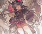 1girl 6+others animal_ear_fluff animal_ears black_headwear blurry bow brown_coat brown_hair chinese_clothes coat depth_of_field ears_through_headwear eyebrows_visible_through_hair flower flower-shaped_pupils from_below genshin_impact ghost hair_ribbon hand_on_hip hand_up hat hat_flower holding holding_pipe hu_tao jewelry long_hair multiple_others noco_(pixiv14976070) one_eye_closed open_mouth pipe red_eyes ribbon ring short_shorts shorts smile smoke solo_focus standing striped striped_bow tailcoat