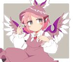 1girl animal_ears bird_ears bird_wings blush brown_dress brown_headwear closed_mouth dress feathered_wings frills grey_background grey_eyes hand_up hat ini_(inunabe00) jewelry long_sleeves looking_to_the_side mob_cap mystia_lorelei pink_hair red_neckwear shirt short_hair simple_background solo touhou white_shirt wings