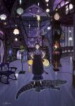 1girl animal_ears artist_name black_dress black_footwear brown_eyes brown_hair carpet cat_ears cat_tail ceiling chair clock closed_mouth crocodile crocodilian curly_hair dress flower giraffe hair_ornament hand_on_hip hat highres holding holding_lantern illumi999 lamp lantern long_hair looking_at_viewer oil_lamp original painting_(object) photo_(object) short_sleeves signature solo stairs standing star_(symbol) tail wall white_legwear wooden_chair wooden_floor