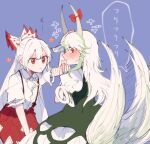2girls blue_background blush bow dress ex-keine fujiwara_no_mokou green_dress green_hair hair_bow hand_on_another's_head headpat horn_bow horns itomugi-kun kamishirasawa_keine long_hair multicolored_hair multiple_girls pants red_bow red_eyes red_pants shirt short_sleeves single_wrist_cuff tail tail_wagging torn_clothes torn_sleeves touhou two-tone_hair white_bow white_hair white_shirt wrist_cuffs