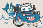 bloop_(gawr_gura) blue_eyes cars_(movie) commentary english_commentary faerieko fish_tail gawr_gura hair_ornament highres hololive hololive_english no_humans shark_hair_ornament shark_tail sharp_teeth tail tail_wagging teeth tongue tow_mater twitter_username upper_teeth water waves wheel