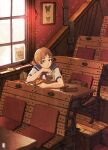 1girl bag bangs blue_sailor_collar brown_eyes brown_hair bug butterfly chair highres indoors insect inukoko original paper paper_airplane sailor_collar shirt short_hair short_sleeves solo upper_body white_shirt window