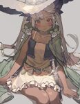 1girl bare_arms belt blush cloak collarbone dagger dark_skin dark_skinned_female dress feet_out_of_frame frilled_dress frills green_cloak grey_background hair_ribbon hands_on_ground hat highres holstered_weapon long_hair looking_at_viewer noco_(pixiv14976070) orange_eyes original purple_ribbon ribbon serious shadow silver_hair simple_background sitting sleeveless sleeveless_dress solo sparkle sword twintails weapon white_dress white_headwear white_nails witch_hat