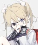 1girl @_@ ahoge backpack bag black_eyes blonde_hair child commission fingerless_gloves glasses gloves grey_background grey_eyes heterochromia jacket long_hair looking_at_viewer open_mouth original pom_pom_(clothes) randoseru red_bag shikaiq simple_background skeb_commission solo striped striped_gloves tearing_up tears twintails upper_body white_jacket