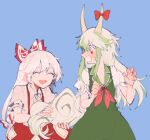 2girls blue_background blush bow closed_eyes commentary_request dress embarrassed ex-keine fujiwara_no_mokou green_dress green_hair hair_bow hands_up holding_tail horn_bow horns itomugi-kun kamishirasawa_keine long_hair multiple_girls open_mouth pants red_bow red_eyes red_neckwear red_pants shirt short_sleeves smile sweatdrop tail torn_clothes torn_sleeves touhou white_bow white_hair white_shirt