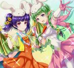 2girls :d animal_hat armpits bangs blunt_bangs braid bunny_hat collarbone dragon_wings dress eyebrows_visible_through_hair fire_emblem fire_emblem:_the_sacred_stones fire_emblem_awakening fire_emblem_heroes flower gloves green_hair hair_flower hair_ornament hat holding_hands kakiko210 looking_at_viewer manakete multiple_girls myrrh_(fire_emblem) nah_(fire_emblem) official_alternate_costume open_mouth orange_dress outstretched_arm pantyhose pink_gloves purple_hair red_eyes ribbon smile tied_hair twin_braids twintails violet_eyes white_gloves white_legwear wings
