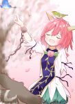 1girl :d absurdres animal_on_head arm_behind_back bird bird_on_head blouse blurry blurry_background chinese_clothes closed_eyes cowboy_shot cuffs fang flower green_skirt highres horns ibaraki_douji's_arm ibaraki_kasen index_finger_raised karuthi leaf on_head open_mouth petals pink_flower pink_hair pink_rose rose shackles short_hair short_sleeves skin_fang skirt smile standing tabard touhou tree white_blouse