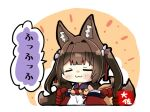 1girl :3 =_= amagi-chan_(azur_lane) animal_ears azur_lane bangs blunt_bangs blush brown_hair chibi closed_eyes commentary_request eyebrows_visible_through_hair fox_ears fox_girl fox_tail hair_ribbon kyuubi long_hair looking_at_viewer manjuu_(azur_lane) multiple_tails off-shoulder_kimono off_shoulder ribbon rope shimenawa sidelocks signature smug solo tail taisa_(kari) thick_eyebrows translation_request twintails v-shaped_eyebrows wide_sleeves