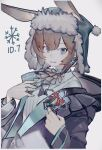 1girl absurdres amiya_(arknights) animal_ears arknights black_jacket black_neckwear blouse blue_choker blue_eyes blue_nails brown_hair choker collared_blouse earrings ears_through_headwear english_text eyebrows_visible_through_hair fang fur-trimmed_headwear hands_up highres hood hood_down hooded_jacket jacket jewelry long_sleeves looking_at_viewer noco_(pixiv14976070) open_mouth rabbit_ears ring short_hair simple_background snowflakes solo upper_body white_background white_blouse