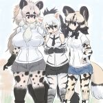 3girls aardwolf_(kemono_friends) aardwolf_ears aardwolf_girl aardwolf_print aardwolf_tail african_wild_dog_(kemono_friends) african_wild_dog_print animal_ears animal_print arm_at_side bangs bare_shoulders black_eyes black_hair blonde_hair bodystocking bow bowtie breast_pocket breasts brown_hair commentary_request curvy cutoffs day dog_ears dog_girl dog_tail extra_ears eyebrows_visible_through_hair feet_out_of_frame grey_hair hair_between_eyes hand_on_hip height_difference high_ponytail highres hyena_ears hyena_girl hyena_tail kemono_friends large_breasts long_hair long_sleeves looking_at_another medium_hair mo23 multicolored_hair multiple_girls necktie outdoors own_hands_together pantyhose pocket shirt short_over_long_sleeves short_shorts short_sleeves shorts side-by-side sidelocks sleeveless sleeveless_shirt smile spotted_hyena_(kemono_friends) standing tail thick_eyebrows thigh_gap very_long_hair white_hair white_shirt