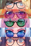 5girls bangs blonde_hair blue-tinted_eyewear blue_eyes blue_hair blunt_bangs eye_focus gawr_gura glasses green-tinted_eyewear hair_ornament highres hololive hololive_english kikino looking_at_viewer monocle_hair_ornament mori_calliope multiple_girls ninomae_ina'nis orange_hair pink-tinted_eyewear pink_hair pointy_ears purple_hair round_eyewear sunglasses takanashi_kiara violet_eyes watson_amelia