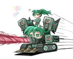 2girls baking_sheet balloon caterpillar_tracks chibi cookie english_commentary fire_emblem fire_emblem:_the_blazing_blade florina_(fire_emblem) food gloves green_eyes green_hair ground_vehicle highres jitome laser_beam long_hair lyn_(fire_emblem) military military_vehicle motor_vehicle multiple_girls no_mouth ponytail saiykik simple_background solo_focus speed_lines tank tray what white_background