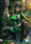 1girl :> asui_tsuyu ayya_sap blush bodysuit boku_no_hero_academia bow_by_hair breasts frog_girl goggles goggles_on_head green_bodysuit green_eyes hair_rings latex long_hair long_tongue low-tied_long_hair medium_breasts outdoors shiny shiny_clothes shiny_hair shiny_skin solo spread_legs squatting tongue tongue_out wet