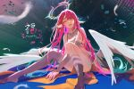 1girl angel_wings artist_name breasts bridal_gauntlets commentary crop_top feathered_wings feathers fuwaffy gloves gradient_hair halo jibril_(no_game_no_life) long_hair looking_at_viewer low_wings magic_circle medium_breasts midriff mismatched_legwear multicolored_hair no_game_no_life open_mouth pink_hair shoes sideboob single_shoe sitting solo tattoo very_long_hair white_wings wing_ears wings yellow_eyes