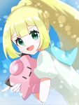 1girl :d absurdres bangs blonde_hair braid character_doll clefairy commentary_request ebiura_akane eyelashes gen_1_pokemon green_eyes highres lillie_(pokemon) long_hair looking_at_viewer looking_to_the_side open_mouth pokemon pokemon_(game) pokemon_sm ponytail shirt short_sleeves signature smile tongue upper_body watermark white_shirt