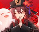 1girl ;) ;p bangs black_headwear black_shirt brown_hair chinese_clothes commentary fang flower flower-shaped_pupils genshin_impact ghost hair_between_eyes hat hat_flower highres hu_tao kuwashima_rein long_hair long_sleeves looking_at_viewer one_eye_closed own_hands_together red_eyes shirt smile solo symbol_commentary tassel tongue tongue_out upper_body