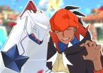 1boy blue_shirt blurry blurry_background blush buttons closed_eyes collared_shirt commentary_request confetti dark_skin dark_skinned_male day duraludon earrings gen_8_pokemon gym_leader hand_up hood hood_down hoodie jewelry male_focus open_mouth orange_headwear outdoors outline pokemon pokemon_(creature) pokemon_(game) pokemon_masters_ex pokemon_swsh punico_(punico_poke) raihan_(pokemon) shirt sky smile tongue upper_body upper_teeth |d