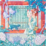 1girl black_cat cat covered_face flower fox_mask from_side hair_flower hair_ornament hand_up holding holding_mask hydrangea japanese_clothes kimono leaf long_sleeves mask original plant print_kimono shadow solo upper_body wacca005 wide_sleeves