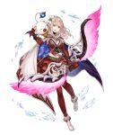 1girl :d bow_(weapon) breasts cape fina_(ff_be) final_fantasy final_fantasy_brave_exvius fingerless_gloves flower full_body gloves hair_flower hair_ornament holding holding_bow_(weapon) holding_weapon ji_no large_breasts looking_at_viewer medium_hair moogle official_art open_mouth pink_hair red_eyes red_skirt sinoalice skirt smile thigh-highs transparent_background upper_teeth weapon