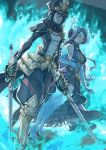 2girls absurdres blue_fire blue_gloves bravesaruko breasts brighid_(xenoblade) center_opening closed_eyes curvy dress dual_wielding elbow_gloves fiery_hair fire full_body gloves hat highres holding holding_sword holding_weapon large_breasts long_hair military military_hat military_uniform morag_ladair_(xenoblade) multiple_girls purple_dress purple_hair standing sword thigh-highs uniform very_long_hair weapon xenoblade_chronicles_(series) xenoblade_chronicles_2