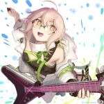1girl absurdres ahoge artoria_pendragon_(all) bangs black_shirt blonde_hair blush boa_(brianoa) braid breasts cleavage_cutout clothing_cutout commentary dutch_angle electric_guitar fate/grand_order fate_(series) french_braid from_above glasses guitar hair_bun highres holding holding_instrument instrument jacket looking_at_viewer mysterious_idol_x_(alter)_(fate) navel open_clothes open_jacket open_mouth plectrum rimless_eyewear shirt short_hair sidelocks small_breasts smile solo twitter_username white_jacket yellow_eyes