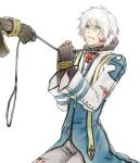 2boys animal_collar archbishop_(ragnarok_online) bangs black_gloves blood bloody_clothes blue_coat blue_eyes bound bound_wrists clenched_teeth coat collar commentary_request cuts eyebrows_visible_through_hair feet_out_of_frame fingerless_gloves gloves hair_between_eyes injury leash_pull looking_at_another male_focus misuguu multiple_boys out_of_frame pants ragnarok_online seiza short_hair simple_background sitting teeth two-tone_coat warlock_(ragnarok_online) white_background white_coat white_hair white_pants