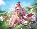 1girl animal_ears anklet bangs black_footwear blue_sky blush bouquet bug butterfly cat_ears closed_mouth clouds commentary_request day dress eyebrows_visible_through_hair fisheye flower full_body grass hat insect jewelry long_hair looking_at_viewer mountainous_horizon orange_flower outdoors paw_print pink_flower pink_hair ragnarok_online red_flower rifu_skr shoes sitting sky smile solo sorcerer_(ragnarok_online) sunlight top_hat tulip violet_eyes wavy_hair white_butterfly white_dress yellow_flower