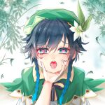 1boy 1other androgynous bamboo bangs beret black_hair blue_hair blush bow braid cape collared_cape crying crying_with_eyes_open drooling eyebrows_visible_through_hair flower furrowed_eyebrows genshin_impact gradient_hair green_eyes green_headwear hair_flower hair_ornament hand_on_another's_chin hat heart heart-shaped_pupils highres leaf looking_at_viewer male_focus multicolored_hair open_mouth pov pov_hands saliva shenlan_yu_jiangzi shirt short_hair_with_long_locks solo_focus symbol-shaped_pupils tears tongue tongue_out twin_braids venti_(genshin_impact) white_flower white_shirt