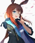 1girl ;d amiya_(arknights) animal_ears arknights ascot bangs black_jacket blue_eyes blurry brown_hair commentary depth_of_field english_text eyebrows_visible_through_hair gu_tao highres hood hoodie index_finger_raised jacket long_hair long_sleeves looking_at_viewer low_ponytail one_eye_closed open_mouth petals rabbit_ears shade sidelocks smile solo white_background wind