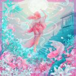 1girl arm_up barefoot fish floating_hair flower hand_up japanese_clothes kimono leaf long_hair long_sleeves original pink_hair plant print_kimono profile solo stairs torii wacca005 white_flower wide_shot wide_sleeves