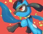 commentary_request creature gen_4_pokemon highres looking_back no_humans nullma orange_eyes parted_lips pokemon pokemon_(creature) red_background riolu shiny shiny_skin solo toes