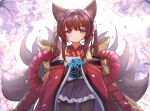 1girl amagi-chan_(azur_lane) animal_ears azur_lane ball bangs black_legwear blunt_bangs blurry brown_hair commentary_request depth_of_field eyebrows_visible_through_hair eyes_visible_through_hair fox_ears fox_girl fox_tail hair_ribbon holding holding_ball kyuubi long_hair looking_at_viewer marekamico multiple_tails off-shoulder_kimono pantyhose ribbon rope shimenawa sidelocks solo tail thick_eyebrows twintails violet_eyes wide_sleeves