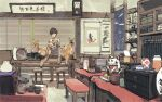 1boy absurdres animal black_footwear black_hair brown_pants clock closed_mouth commentary_request fox glasses highres holding holding_animal indoors long_sleeves looking_at_viewer male_focus maneki-neko open_mouth original pants shirt shoes smile solo standing stool striped striped_shirt table twitter_username wall_clock zennosuke