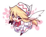 1girl :d bangs blonde_hair bow bowtie brown_footwear dress eyebrows_visible_through_hair fairy_wings flower full_body hair_between_eyes highres kuroshirase lily_white long_hair long_sleeves looking_at_viewer open_mouth pink_flower red_bow red_eyes red_neckwear simple_background smile solo standing touhou very_long_hair white_background white_dress white_headwear white_wings wings