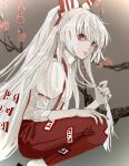 1girl absurdly_long_hair arm_strap bangs bow brown_background cherry_blossoms closed_mouth collared_shirt fingernails from_side fujiwara_no_mokou gradient gradient_background hair_bow hand_in_hair hand_on_own_thigh highres lips long_hair looking_at_viewer looking_to_the_side nanasuou pants ponytail puffy_short_sleeves puffy_sleeves red_eyes red_nails red_pants shiny shiny_hair shirt short_sleeves solo squatting suspenders talisman touhou tree_branch very_long_hair white_hair white_legwear white_shirt