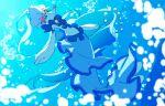 air_bubble blue_eyes blurry bubble buntatta closed_mouth commentary_request gen_7_pokemon highres no_humans pokemon pokemon_(creature) primarina smile solo underwater