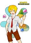 belt blonde_hair brown_shorts human jelly_fish name_tag nickelodeon red_tie spongebob_squarepants spongebob_squarepants_(character) spongebob_squarepants_(cosplay)